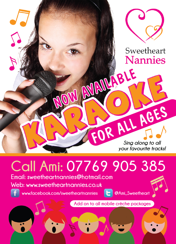 Sweetheat Nannies A6 flyer Karaoke PRESS READY